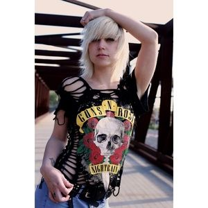 Guns N Roses Slashed Cut Tee